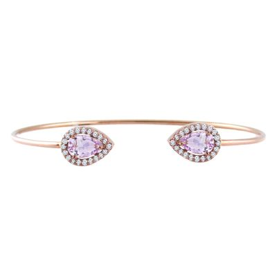 14k Amethyst and Diamond Bangle