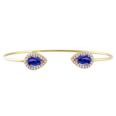 14k Tanzanite and Diamond Bangle
