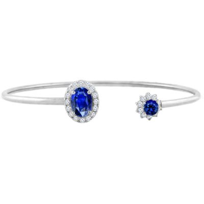 14k Sapphire and Diamond Bangle