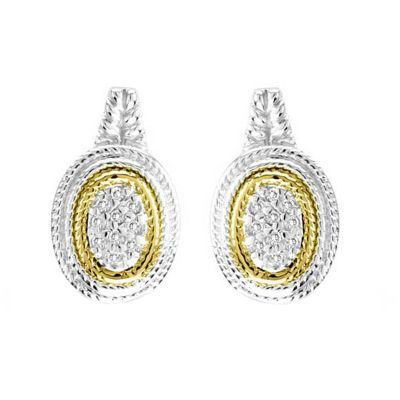 Sterling Silver and 14k Gold Diamond Earrings