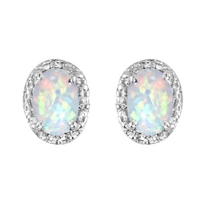 14k Opal and Diamond Earring