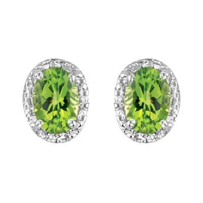14k Peridot and Diamond Earring