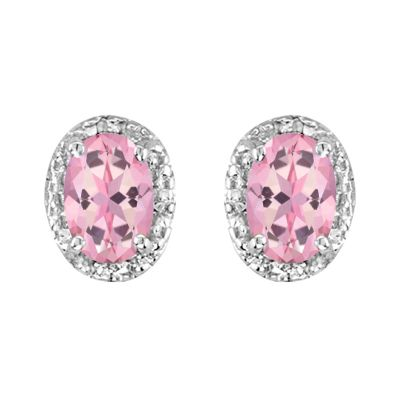 14k Pink Topaz and Diamond Earring