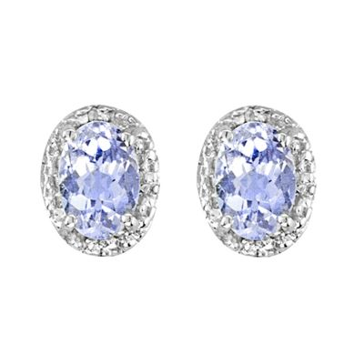 Sterling Silver Tanzanite and Diamond Earring