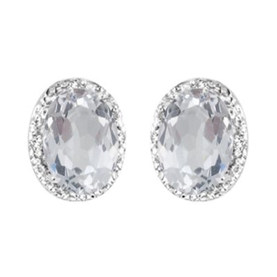 14k White Topaz and Diamond Earring