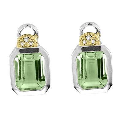 Green Amethyst and Diamond Sterling Silver Stud Earrings