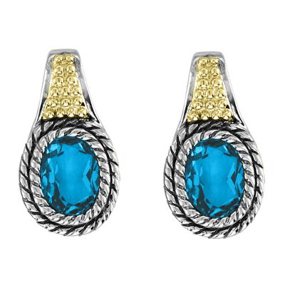 Sterling Silver and 14k Gold Blue Topaz Earrings
