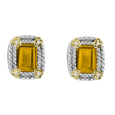 Sterling Silver and 14k Gold Citrine Earrings