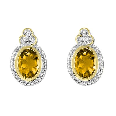 Citrine and Diamond Sterling Silver and 14k Earrings