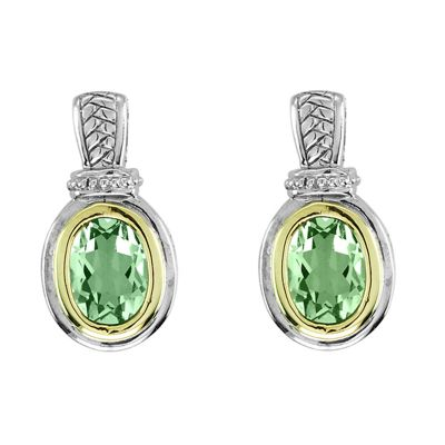 Green Amethyst Sterling Silver and 14k Gold Earrings