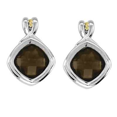 Smokey Quartz Sterling Silver and 14k Gold Earrings