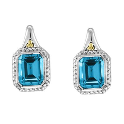 Blue Topaz Sterling Silver and 14k Gold Earrings