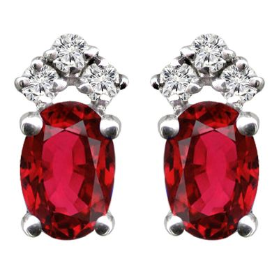 14k Ruby and Diamond Earring
