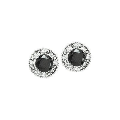 14k Black and White Diamond Halo Earring