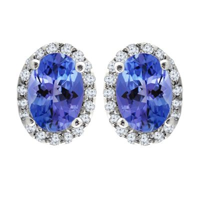 Diamond Halo Tanzanite Earrings