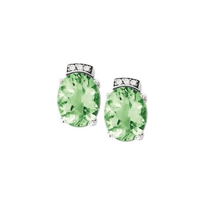 14k Green Amethyst and Diamond Earring