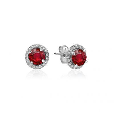 14k Ruby and Diamond Earring