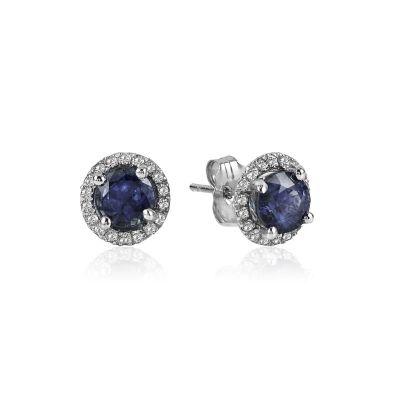 14k Sapphire and Diamond Halo Earring