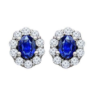 Sapphire and Diamond 14k Earring