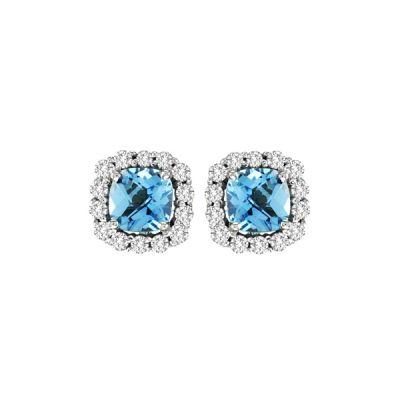 14k Blue Topaz and Diamond Earring