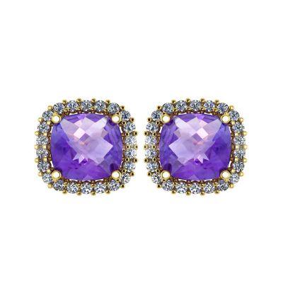 14k Amethyst and Diamond Stud Earring