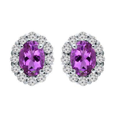 14k Amethyst and Diamond Earring