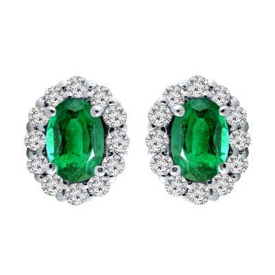 14k Emerald and Diamond Earring