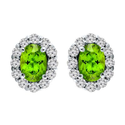 14k Peridot and Diamond Earring