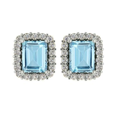 14k Aquamarine and Diamond Earring