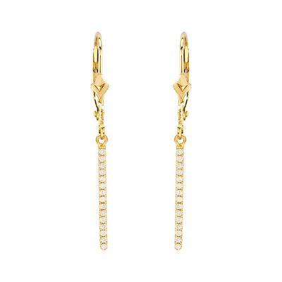 14K Diamond Dangle Bar Earrings