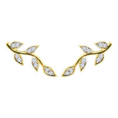 14k 0.20ctw Diamond Branch Ear Crawler Stud Earrings