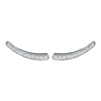 14K 0.25ctw Diamond Curved Bar Stud Earrings