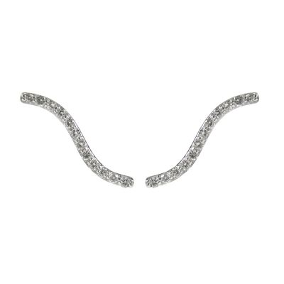 14K 0.26ctw Diamond Curved Bar Stud Earrings