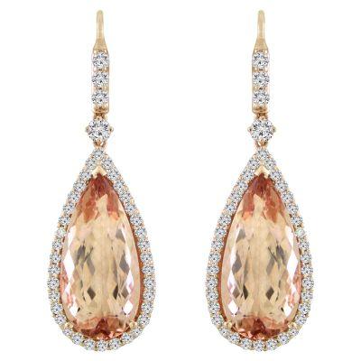 18k Morganite and Diamond Earring