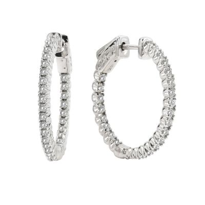 14k 1ctw Diamond Hoop Earrings