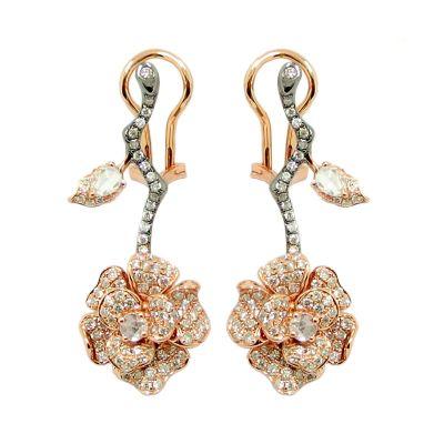 18k Diamond Fleur Rocher Earring