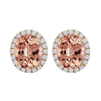 14k Morganite and Diamond Earring