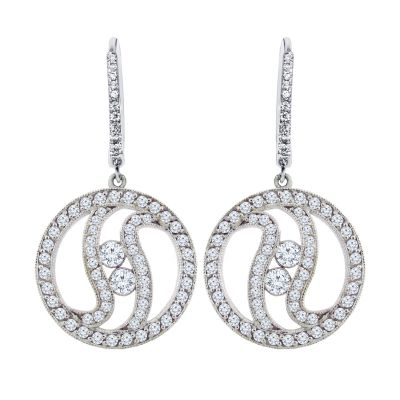 14k 1ctw Diamond Two Stone Earrings