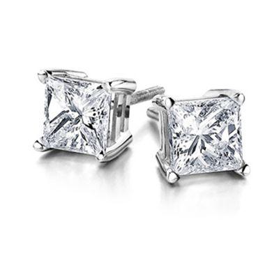 14k 0.75ctw Gold Princess Cut Diamond Stud Earring
