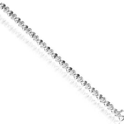 Sterling Silver Diamond XOXO Bracelet