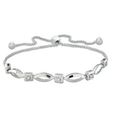 Sterling Silver Diamond Bolo Bracelet