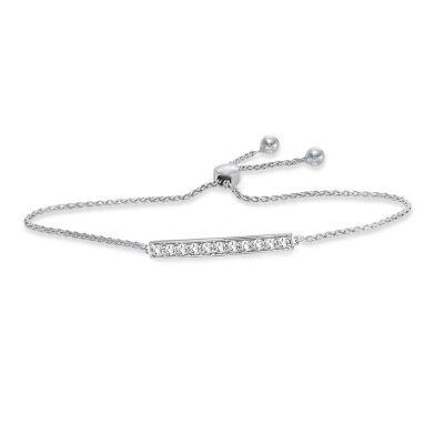 14k 0.33ctw Diamond Bar Bolo Bracelet