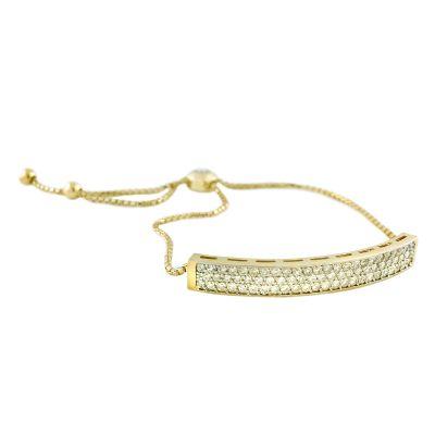 14k Diamond Bar Bolo Bracelet