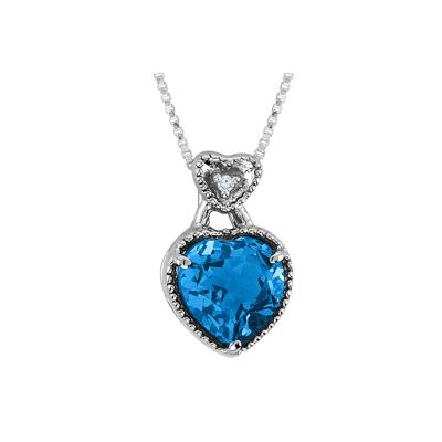 Blue Topaz and Diamond Sterling Silver Heart Pendant