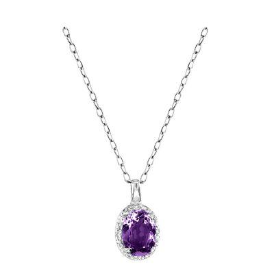 14k Amythest and Diamond Pendant
