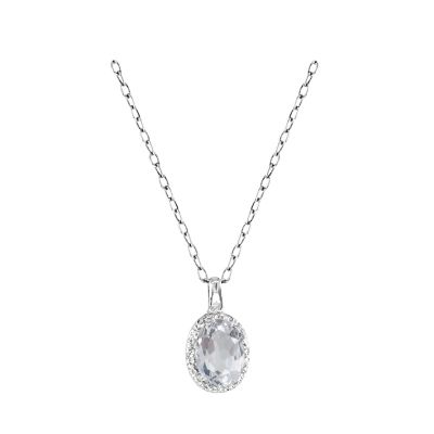 14k White Topaz and Diamond Pendant