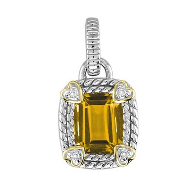 Citrine Sterling Silver and 14k Pendant