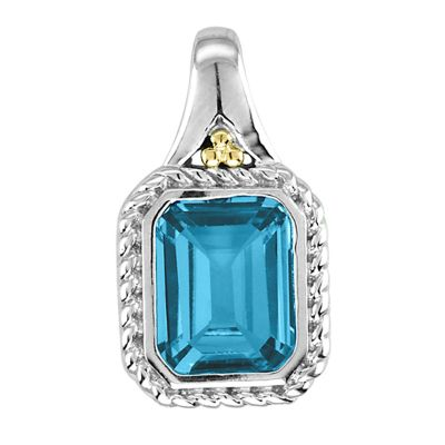 Blue Topaz Sterling Silver and 14k Pendant
