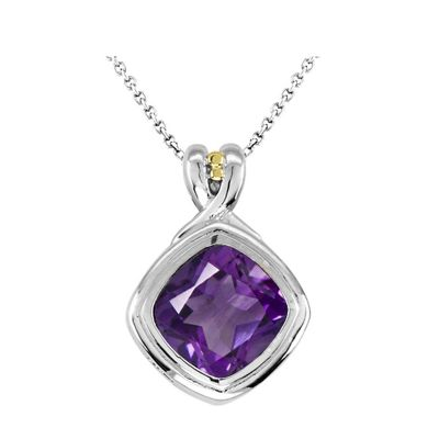 Sterling Silver and 14k Amethyst Pendant