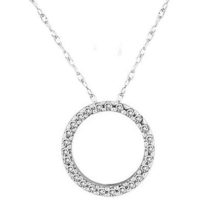 14k Diamond Circle Pendant